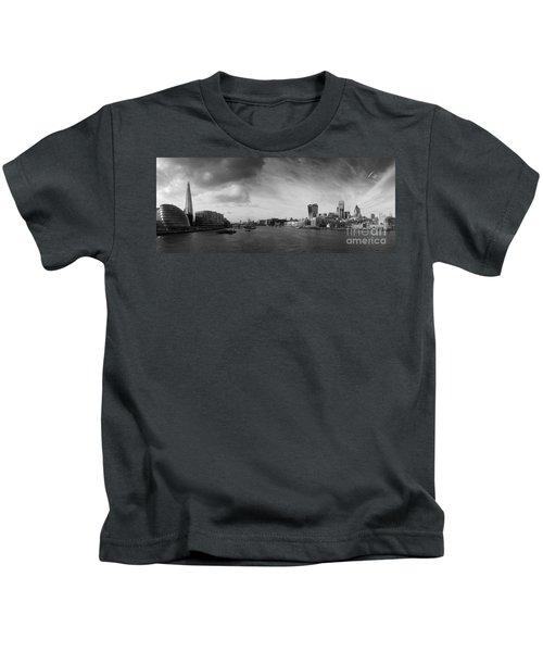 London City Panorama Kids T-Shirt by Pixel Chimp