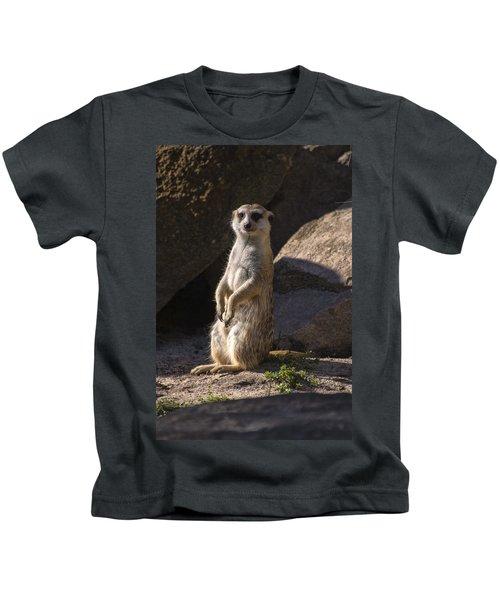 Meerkat Looking Forward Kids T-Shirt by Chris Flees