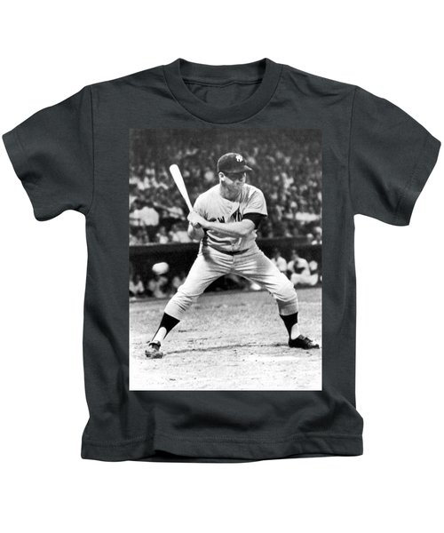 Mickey Mantle At Bat Kids T-Shirt by Underwood Archives