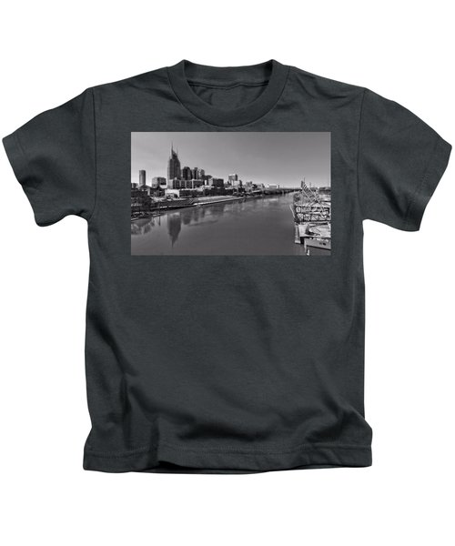 Nashville Skyline In Black And White At Day Kids T-Shirt by Dan Sproul