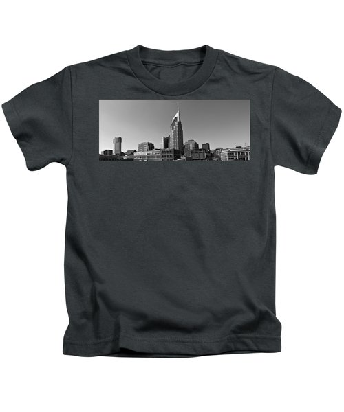 Nashville Tennessee Skyline Black And White Kids T-Shirt by Dan Sproul