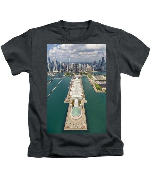 Navy Pier Chicago Aerial Kids T-Shirt by Adam Romanowicz