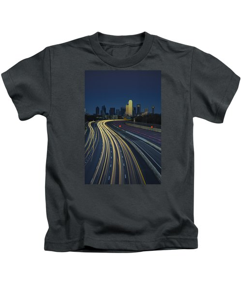 Oncoming Traffic Kids T-Shirt by Rick Berk