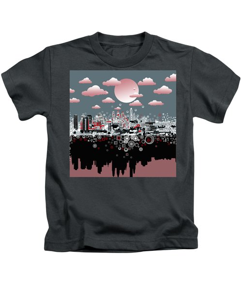 Philadelphia Skyline Abstract 6 Kids T-Shirt by Bekim Art