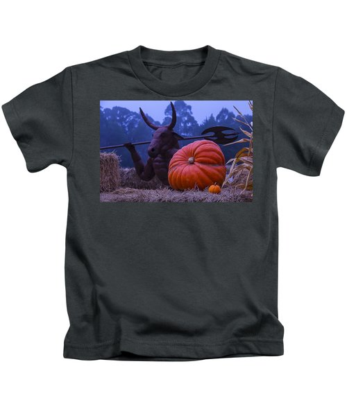 Pumpkin And Minotaur Kids T-Shirt by Garry Gay