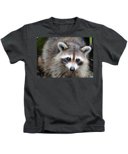 Raccoon Eyes Kids T-Shirt by Carol Groenen
