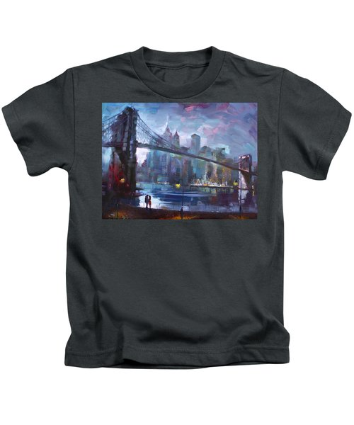 Romance By East River II Kids T-Shirt by Ylli Haruni