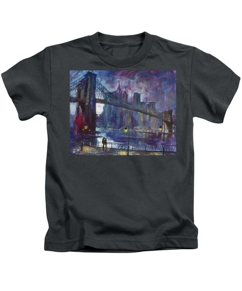 Romance By East River Nyc Kids T-Shirt by Ylli Haruni