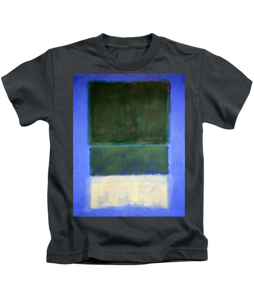 Rothko's No. 14 -- White And Greens In Blue Kids T-Shirt by Cora Wandel