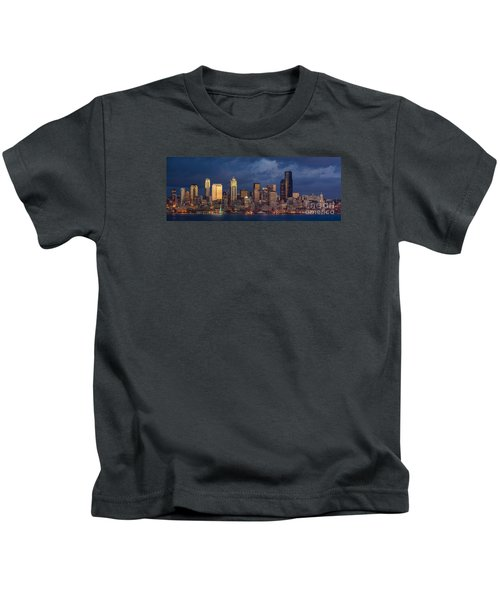 Seattle Skyline Sunset Detail Kids T-Shirt by Mike Reid