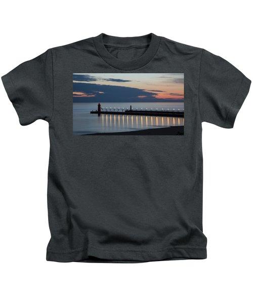 South Haven Michigan Lighthouse Kids T-Shirt by Adam Romanowicz