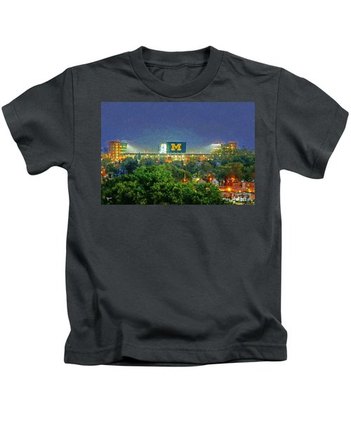 Stadium At Night Kids T-Shirt by John Farr