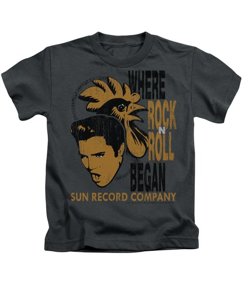 Sun - Elvis And Rooster Kids T-Shirt by Brand A