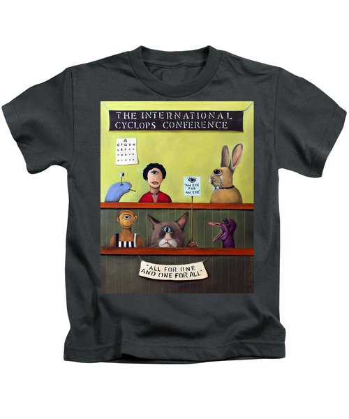 The International Cyclops Conference Kids T-Shirt by Leah Saulnier The Painting Maniac