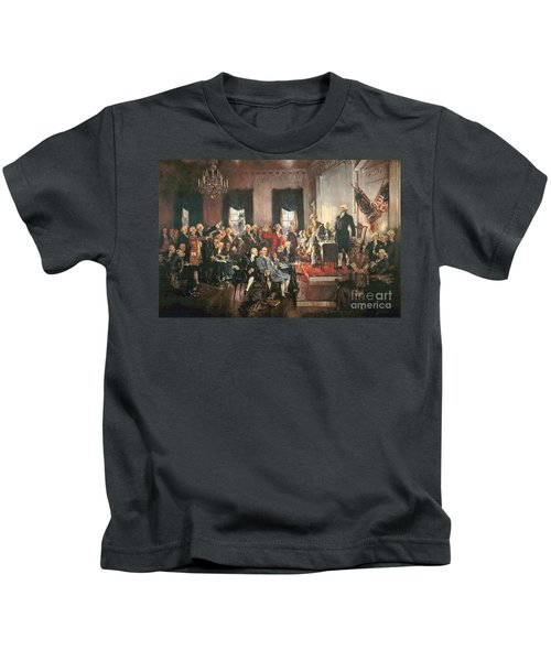 The Signing Of The Constitution Of The United States In 1787 Kids T-Shirt by Howard Chandler Christy