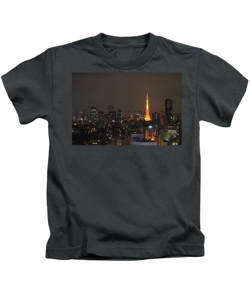 Tokyo Skyline At Night With Tokyo Tower Kids T-Shirt by Jeff at JSJ Photography