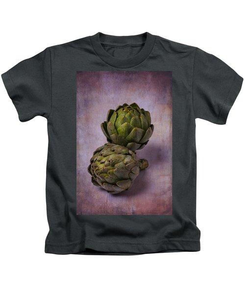 Two Artichokes Kids T-Shirt by Garry Gay