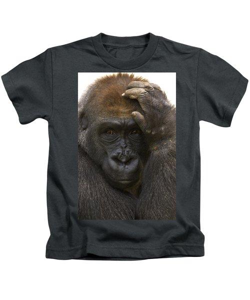 Western Lowland Gorilla With Hand Kids T-Shirt by San Diego Zoo