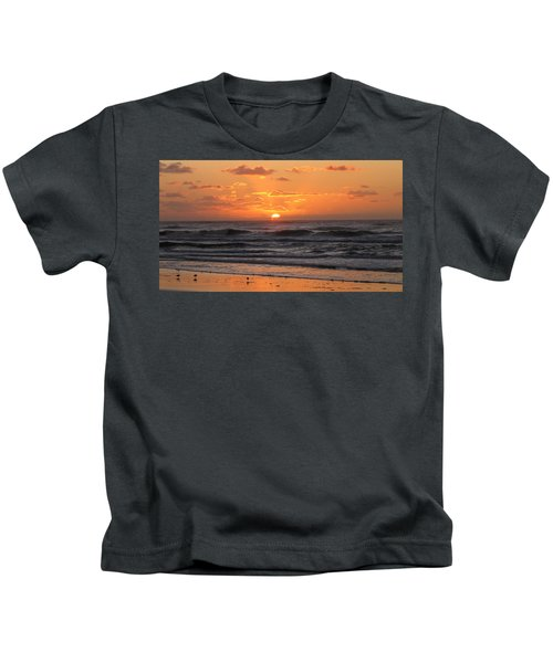 Wildwood Beach Here Comes The Sun Kids T-Shirt by David Dehner