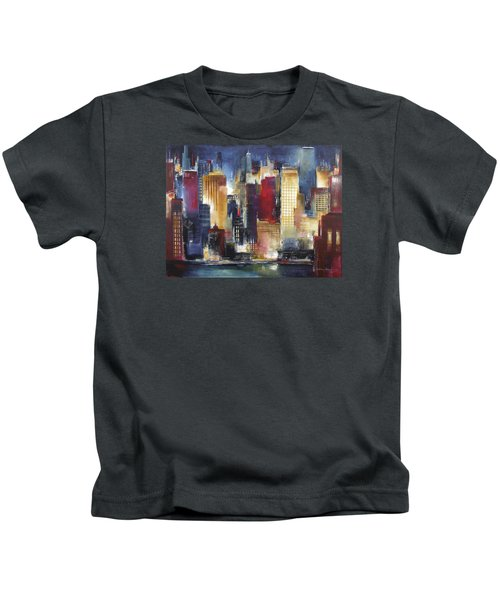 Windy City Nights Kids T-Shirt by Kathleen Patrick