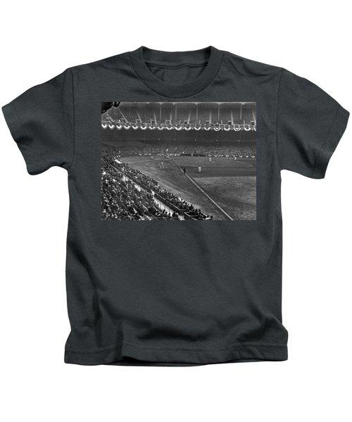 Yankee Stadium Game Kids T-Shirt by Underwood Archives