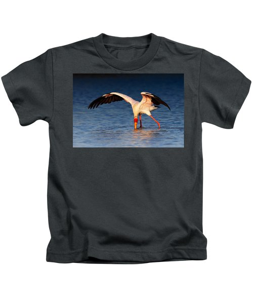Yellow-billed Stork Hunting For Food Kids T-Shirt by Johan Swanepoel