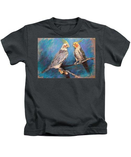 Coctaiel Parrots Kids T-Shirt by Ylli Haruni