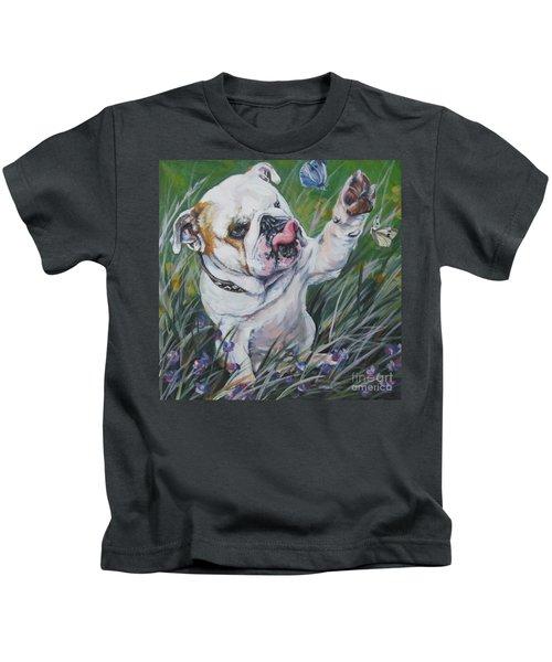 English Bulldog Kids T-Shirt by Lee Ann Shepard
