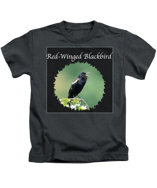 Red-winged Blackbird Kids T-Shirt by Jan M Holden