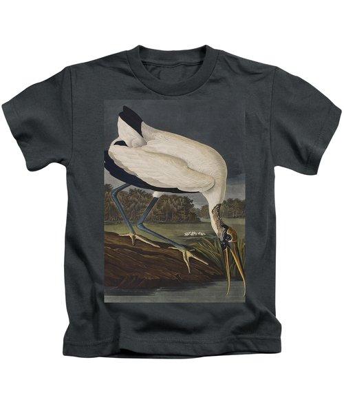 Wood Ibis Kids T-Shirt by John James Audubon