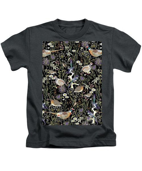 Woodland Edge Birds Kids T-Shirt by Jacqueline Colley