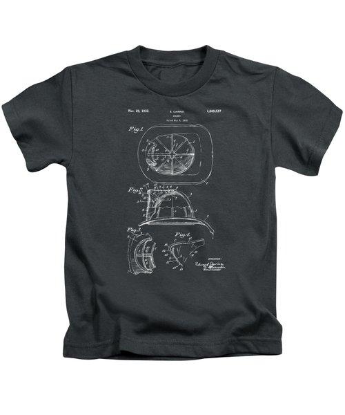 1932 Fireman Helmet Artwork - Gray Kids T-Shirt by Nikki Marie Smith
