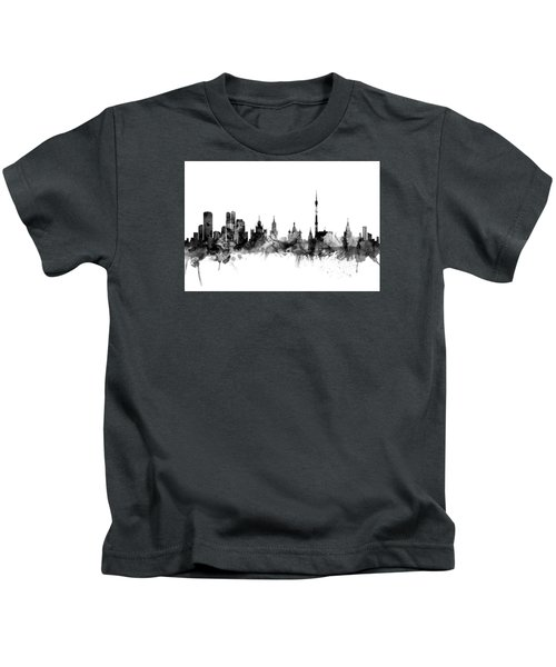 Moscow Russia Skyline Kids T-Shirt by Michael Tompsett