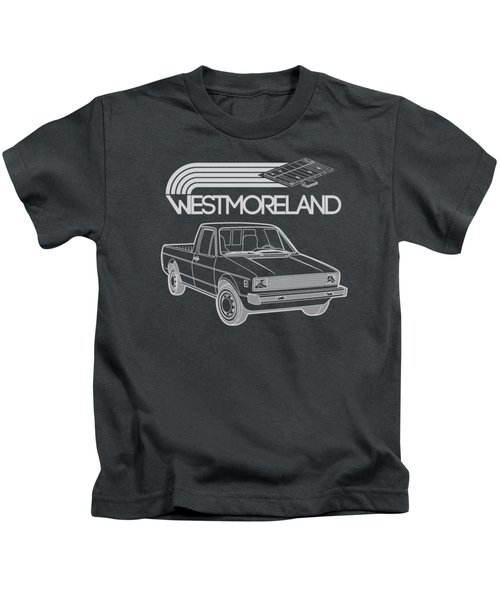 Vw Rabbit Pickup - Westmoreland Theme - Black Kids T-Shirt by Ed Jackson