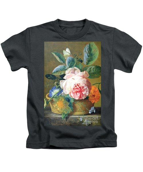 A Basket With Flowers Kids T-Shirt by Jan van Huysum