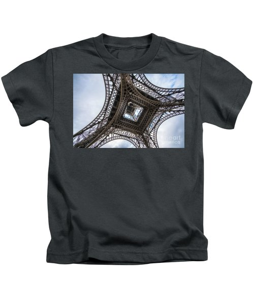 Abstract Eiffel Tower Looking Up 2 Kids T-Shirt by Mike Reid