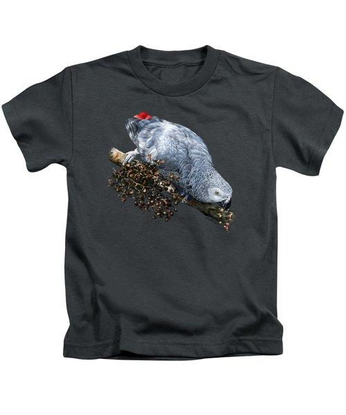 African Grey Parrot A Kids T-Shirt by Owen Bell