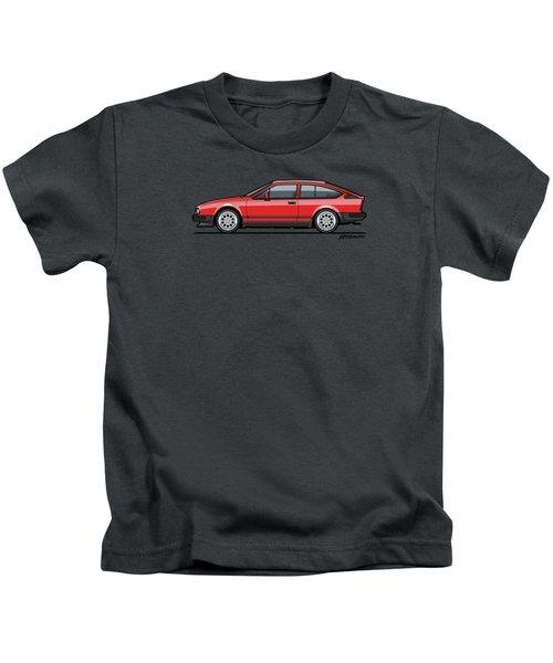 Alfa Romeo Gtv6 Red Kids T-Shirt by Monkey Crisis On Mars