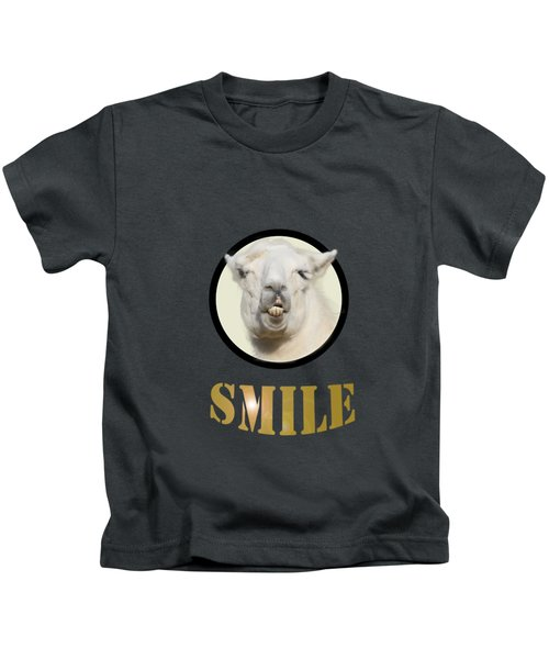 Alpaca Smile  Kids T-Shirt by Rob Hawkins