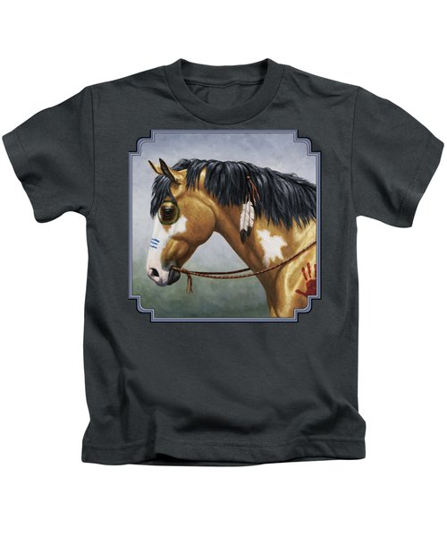 Buckskin Native American War Horse Kids T-Shirt by Crista Forest