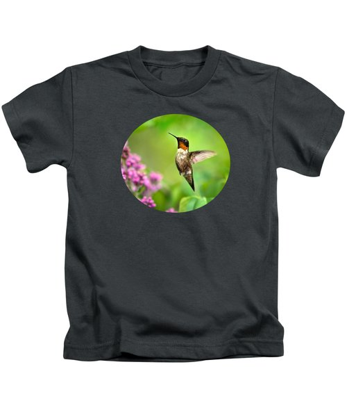 Welcome Home Hummingbird Kids T-Shirt by Christina Rollo