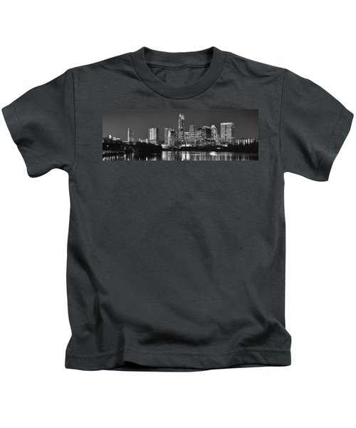 Austin Skyline At Night Black And White Bw Panorama Texas Kids T-Shirt by Jon Holiday