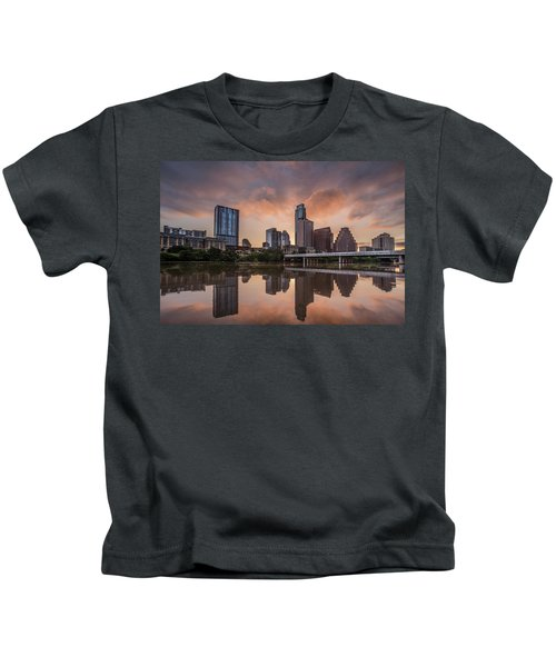 Austin Skyline Sunrise Reflection Kids T-Shirt by Todd Aaron