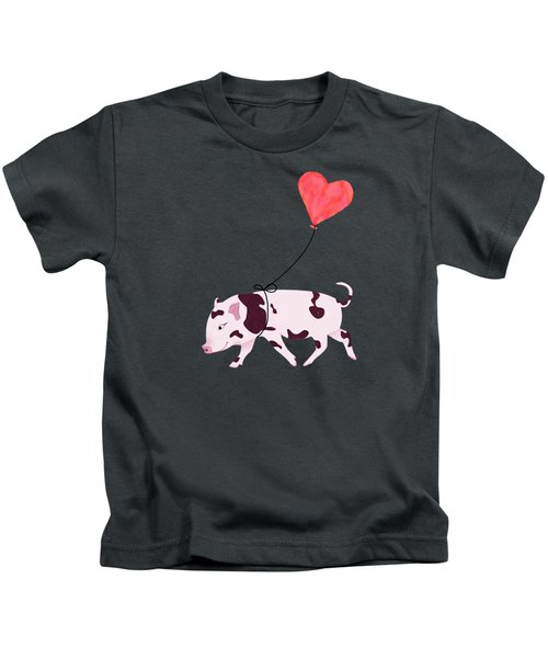Baby Pig With Heart Balloon Kids T-Shirt by Brigitte Carre