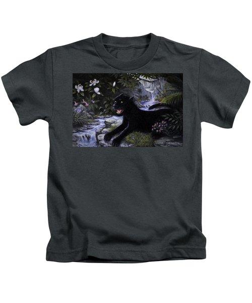 Black Panther Kids T-Shirt by Charles Kim