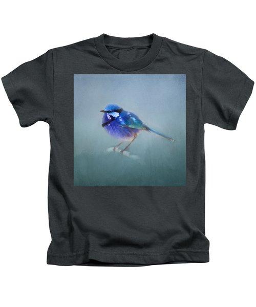 Blue Fairy Wren Kids T-Shirt by Michelle Wrighton