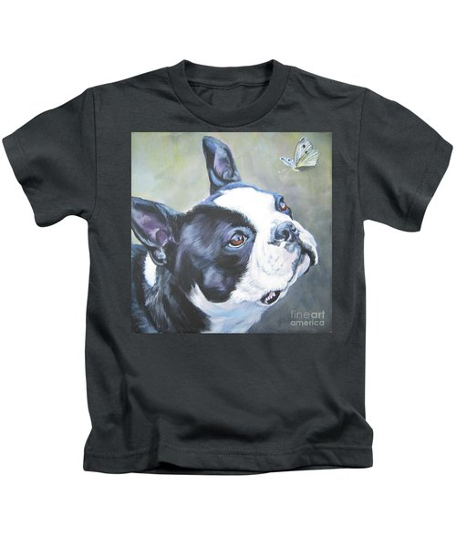 boston Terrier butterfly Kids T-Shirt by Lee Ann Shepard