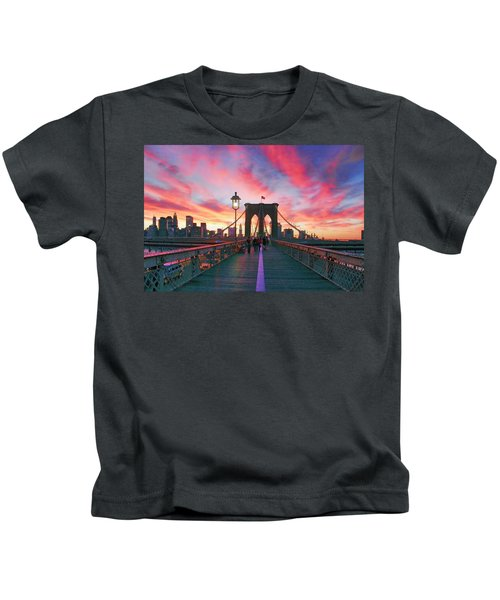 Brooklyn Sunset Kids T-Shirt by Rick Berk