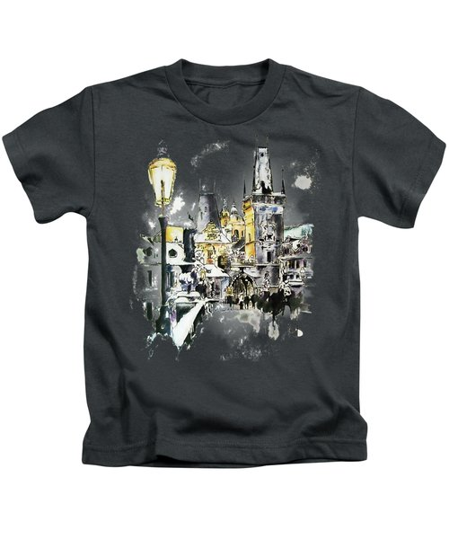 Charles Bridge In Winter Kids T-Shirt by Melanie D