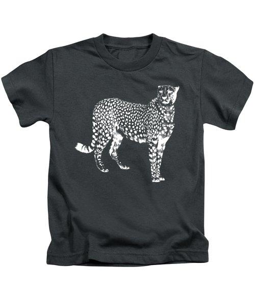 Cheetah Cut Out White Kids T-Shirt by Greg Noblin